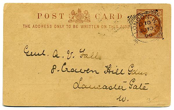 Postal Card UK 1890