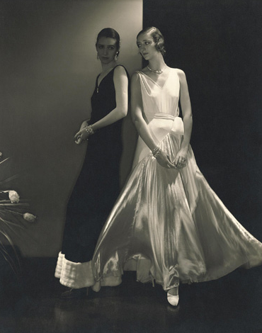 Model Marion Morehouse and unidentified model wearing dresses by Vionnet, 1930